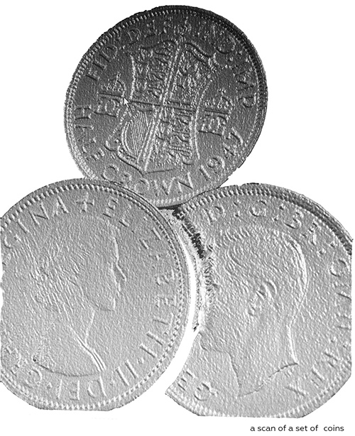 3d scan of a set of coins